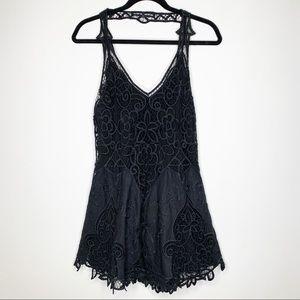 Free People linen lace black dress E0173